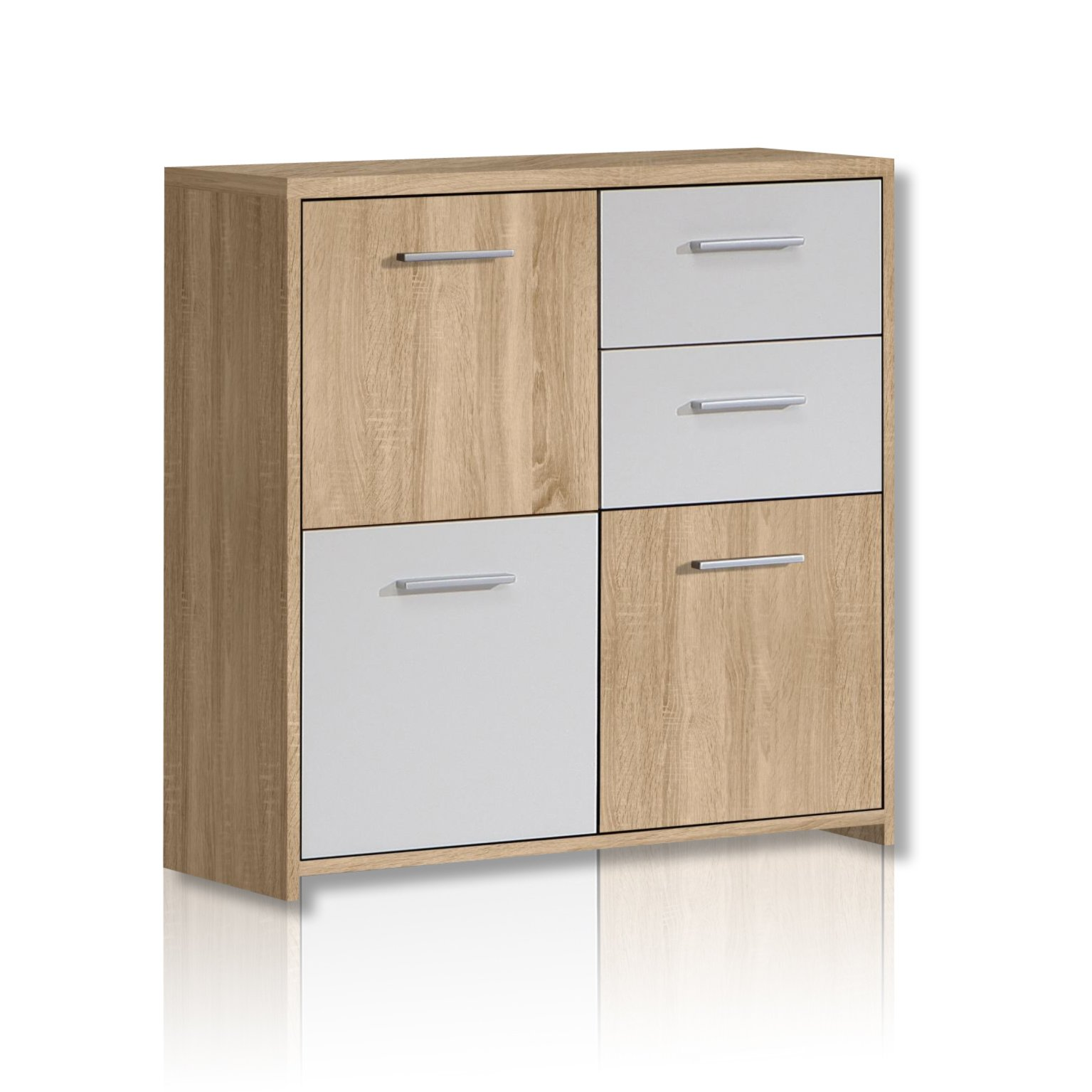 Kommode Roller Kommode Quadro Sonoma Eiche Weiß Kommoden And Sideboards