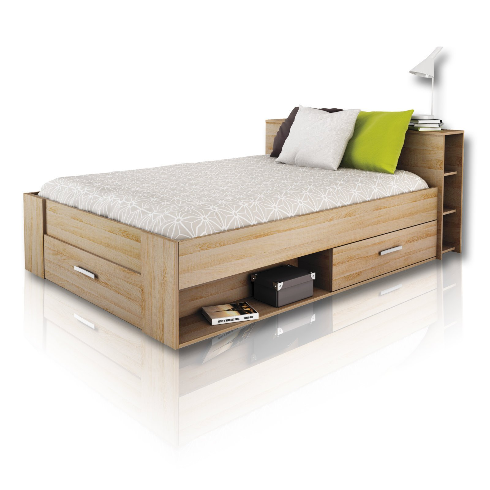 Roller Betten 120x200 Jugendbett-funktionsbett Pocket - Eiche Sonoma - 140x200