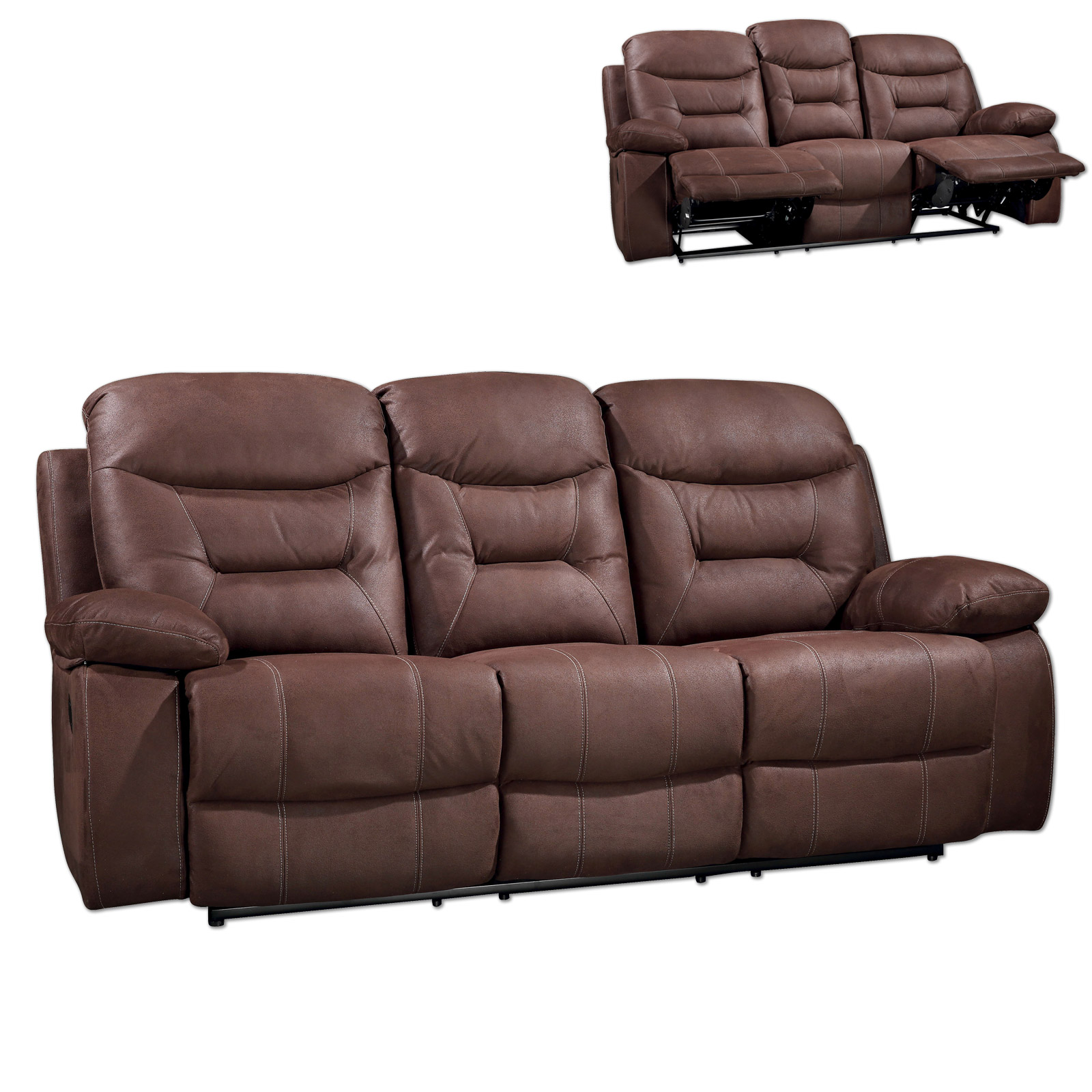 Sofa 3 Sitzer Mit Sessel 3 Sitzer Sofa Braun Relaxfunktion