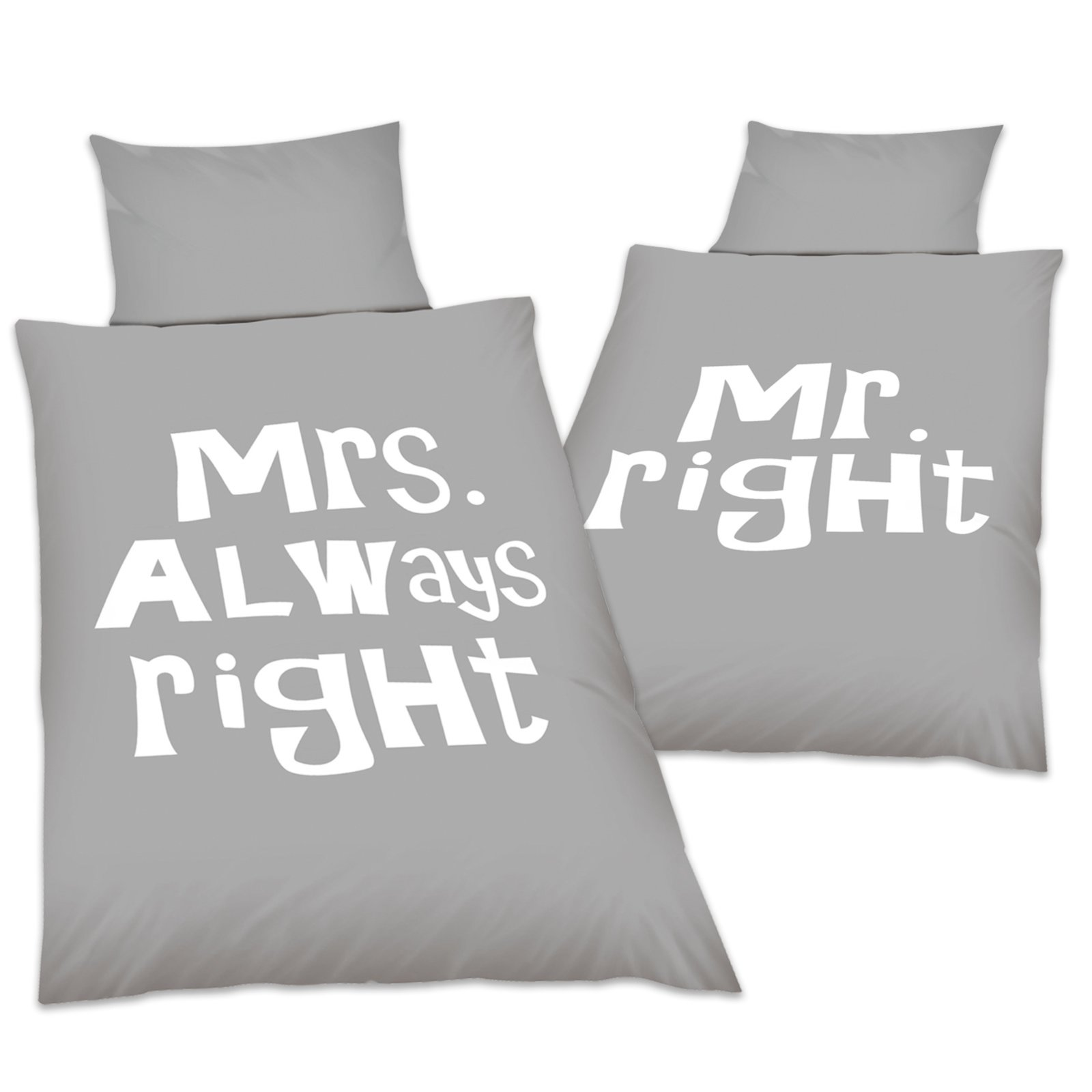 Mr Right Mrs Always Right Bettwäsche Microfaser Wende Bettwäsche Mr And Mrs Right 135x200