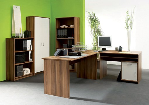 Büromöbel Set Roller Büromöbel-set Office Compact - Walnuss-weiß