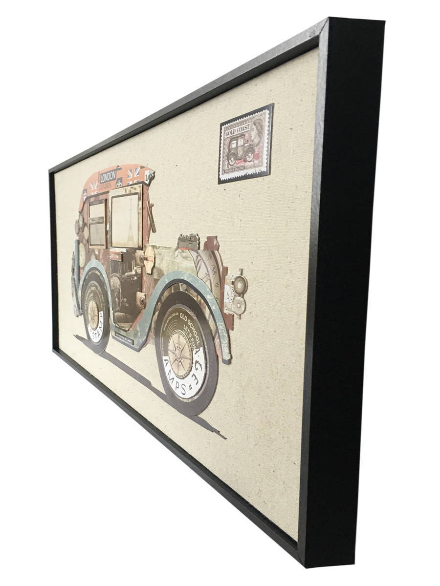 Wandbild Bloomsbury Car Multicolor Handarbeit