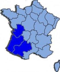 Kaart Zuid West Frankrijk