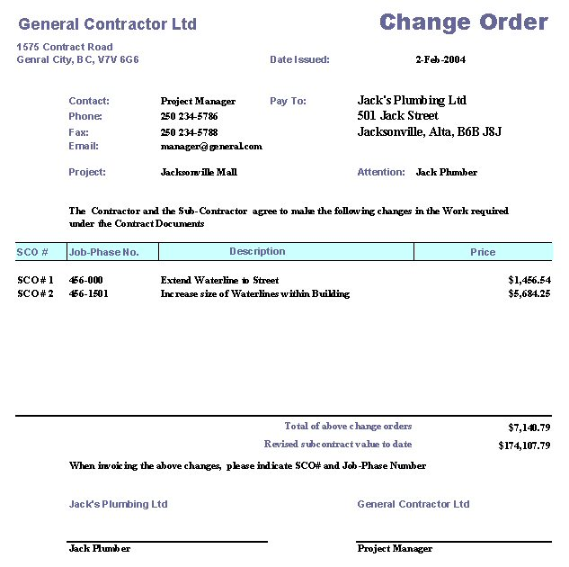 access work order form template - construction change order form