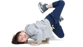Cute boy break dancing