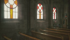 Stained Window Glass With Pews In Church