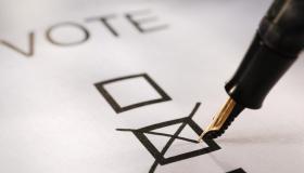Voting slip putting a cross in a box