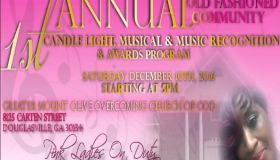 1st Annual Old Fashioned Community Candle Light, Musical and Awards Program