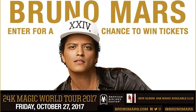 Bruno Mars 24k Magic World Tour 2017_Enter-to-win Contest_KBFB_RD_Dallas_November 2016