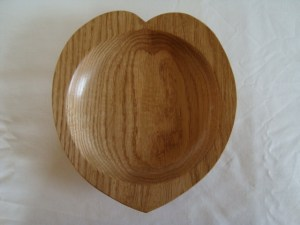 heart shaped wooden bowl from Ash