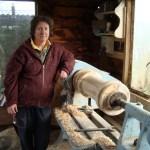 Roni Roberts turning a column on the EG Wilson lathe