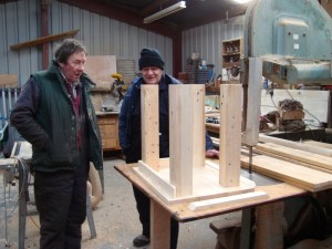 Huw and Merfyn making a table from pallets
