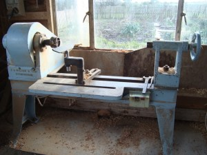 E. G. Wilson metal spinning lathe now adapted as a wood turning lathe