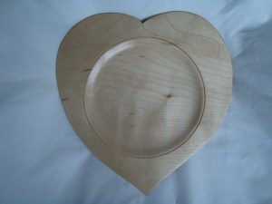 Sycamore heart shaped turned wooden bowl