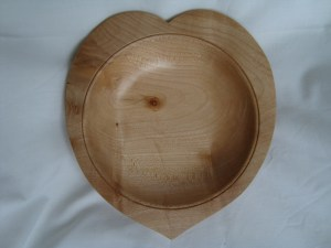 ash hand turned heart shaped bowl