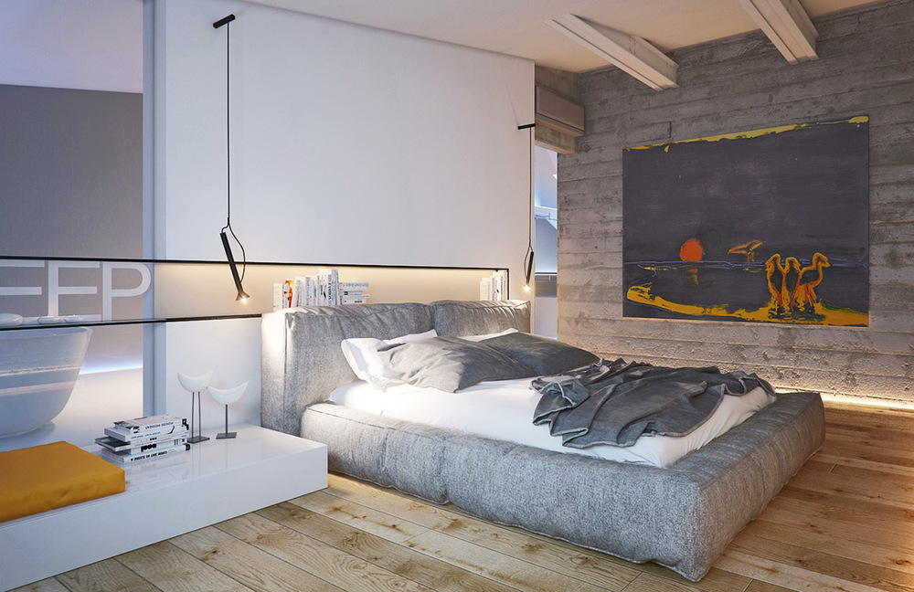Lamp Beton The Attic Bedroom Design For Masculine Men's Retreat - Roohome