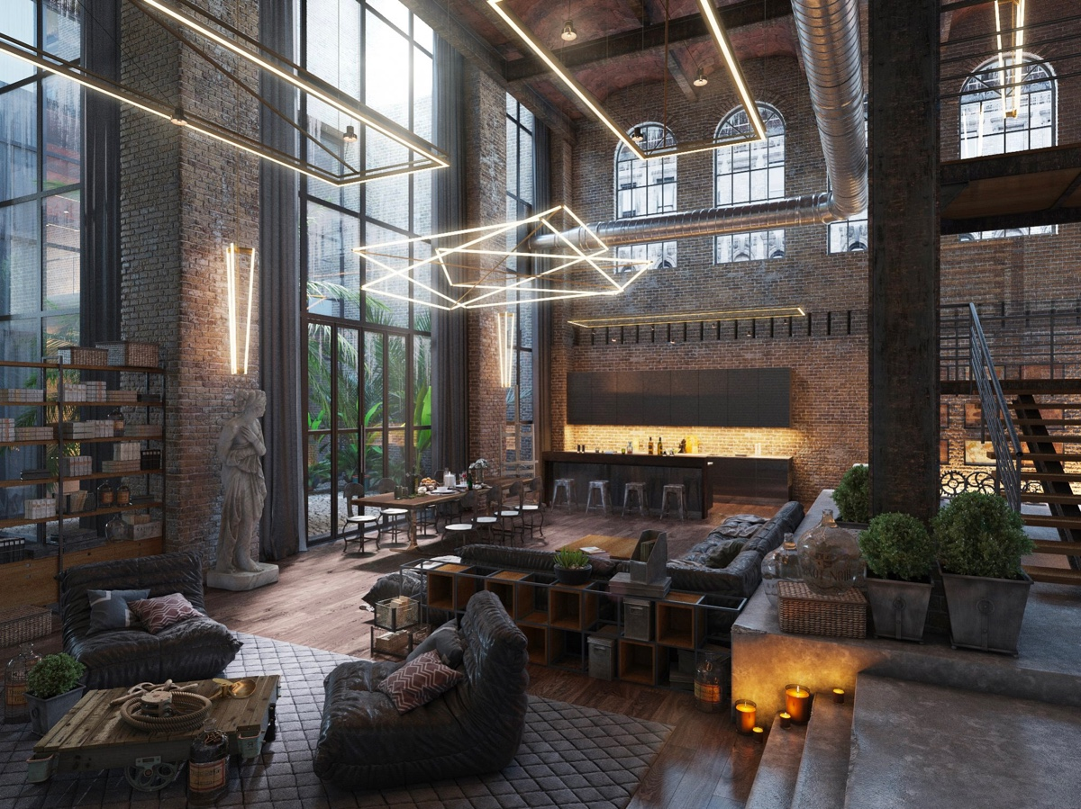 Wohnzimmer Modern Pastel Loft Living Room Design With Modern Industrial Style Roohome