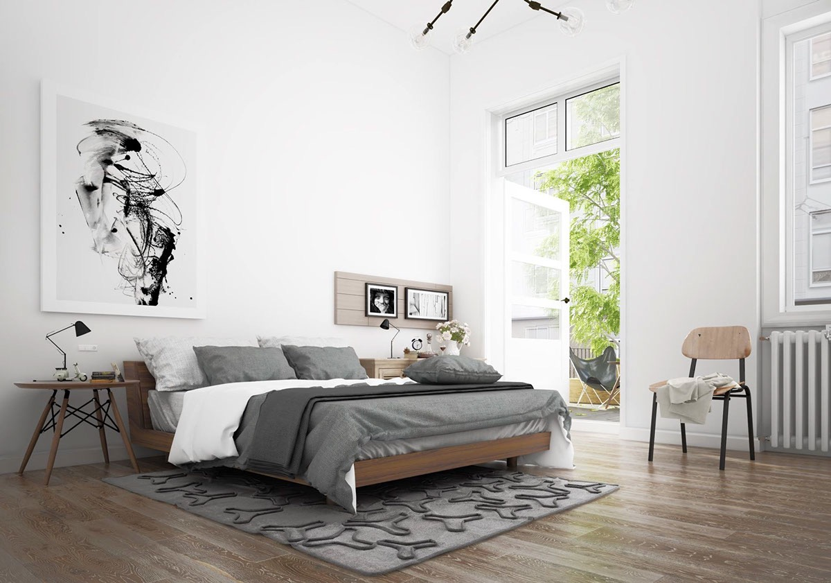 Soverom Interior Design Scandinavian Bedroom Design Dominant With White Color