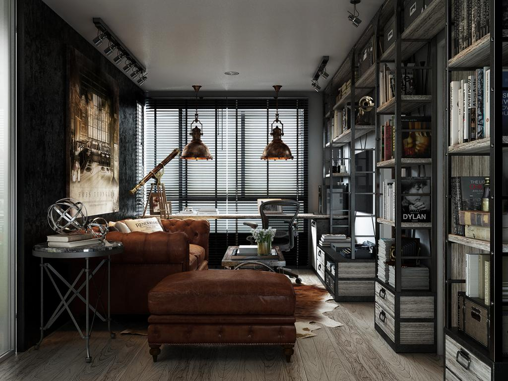 Industrial Bedroom Design Dark Color For Small Apartment Interior Design With