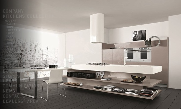 Modern Kitchen Design With Wooden Accent And Soft Color Decoration Looks So Trendy Roohome