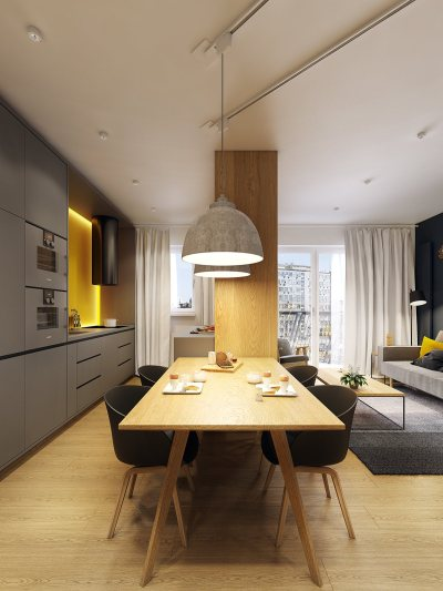 Modern Scandinavian Apartment Interior Design With Gray ...