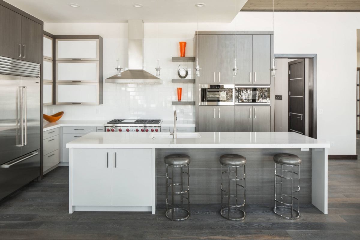 Kitchen Grey Floor Brown Cabinets Variety Of Best White Kitchen Designs Arranged With