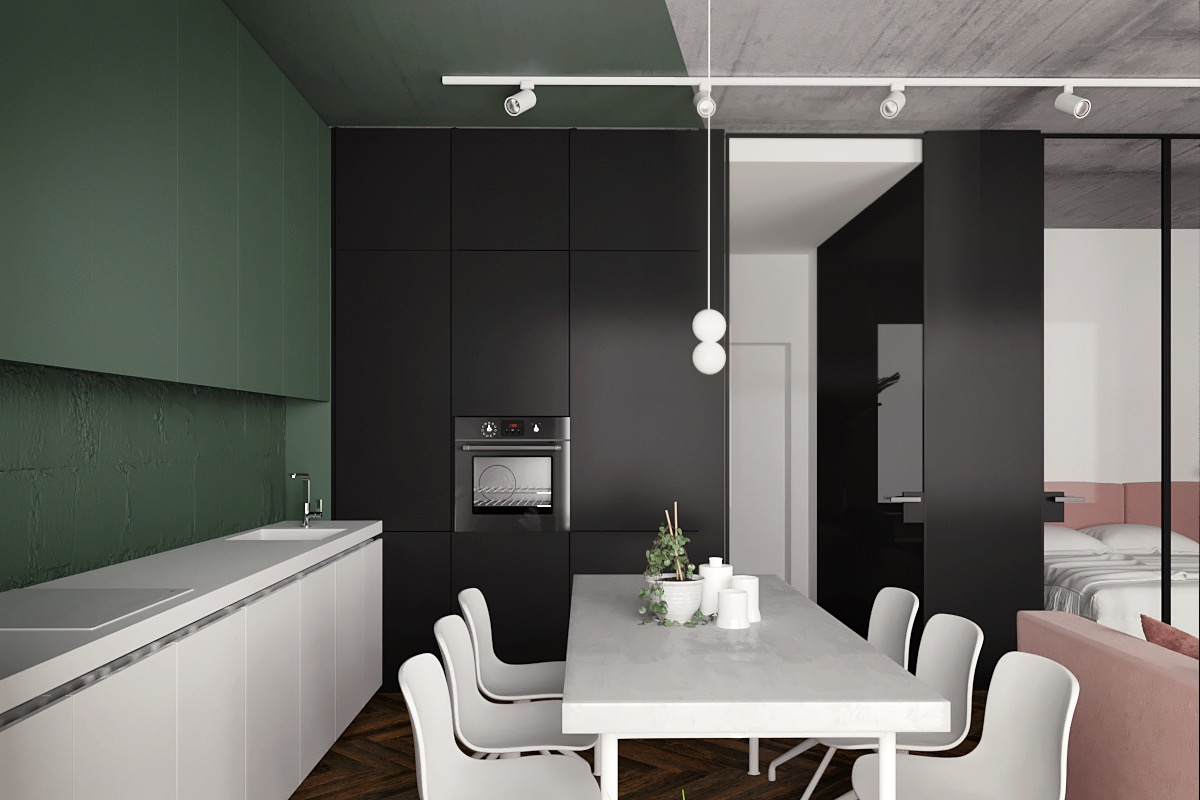 Pink And Black Kitchen Decor Great Inspiration Of Small Modern Studio Apartment Using