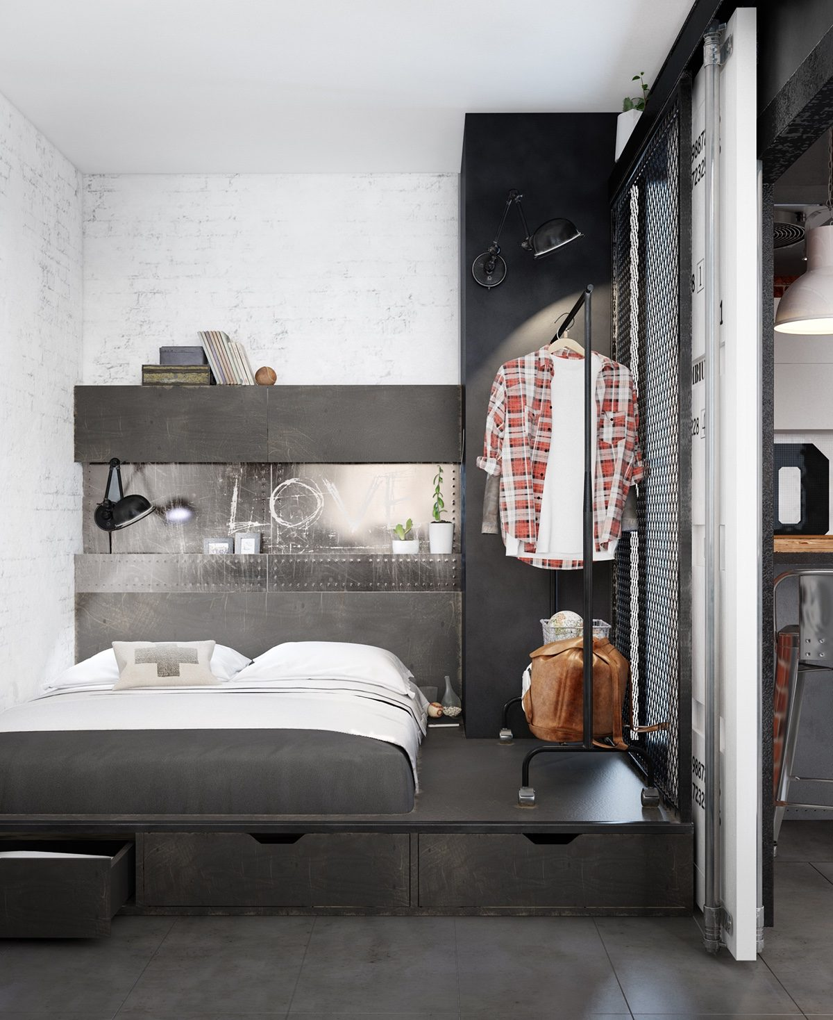 Bachelor Bedroom Industrial Style 3 Modern Bachelor Apartment Design