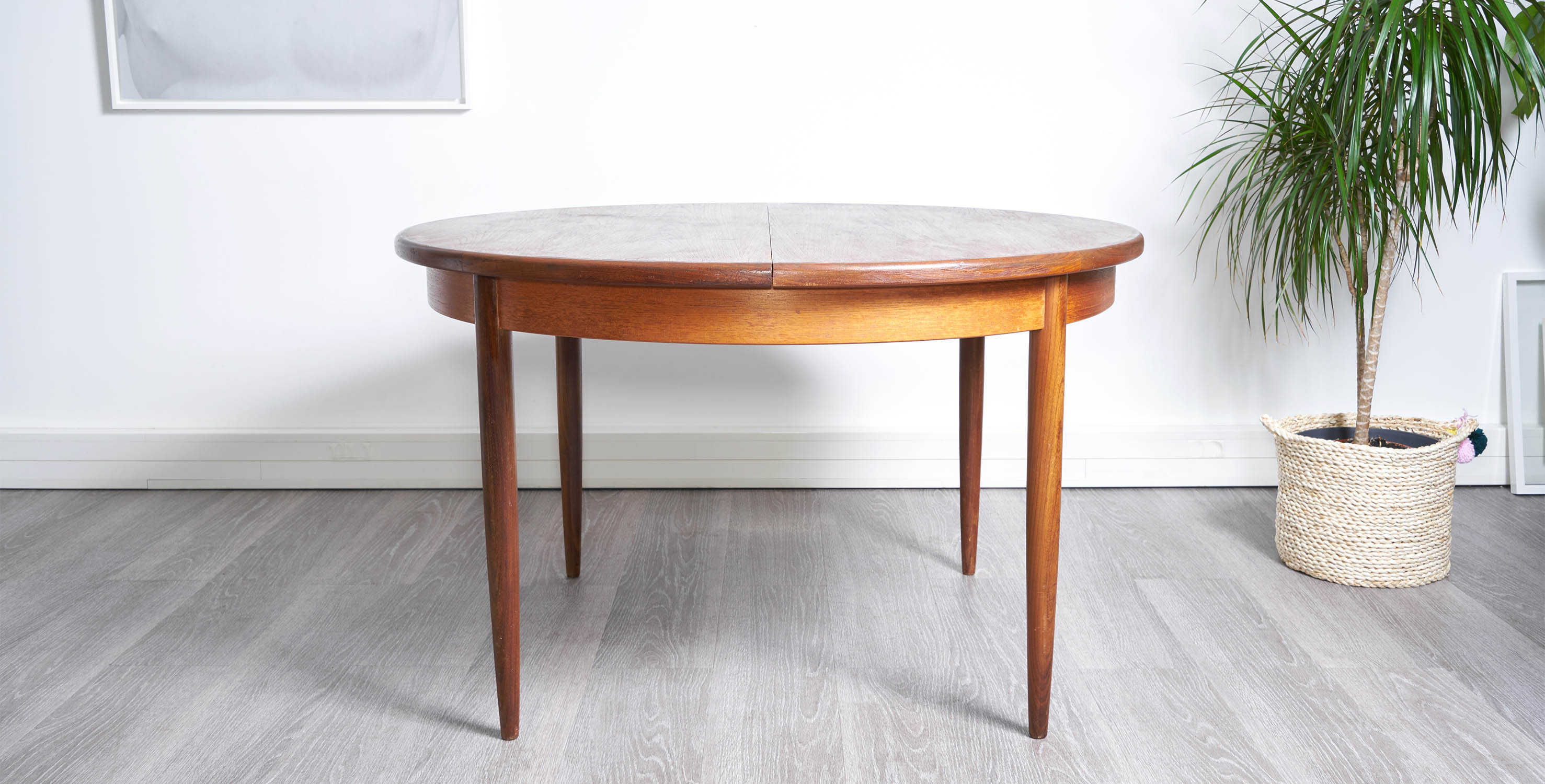 Table Ronde Scandinave Rallonge Table à Manger Ronde Extensible 1960 Style Scandinave Vendue