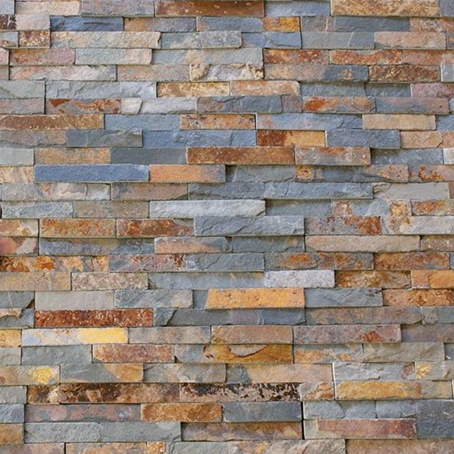 3d Wallpaper Or Wall Panel Or Wall Panels Stacked Stone Split Face Multi Colour Rusty Slate Natural Stone Cladding