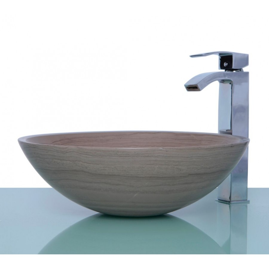 Marble Basin Wooden Grey Marble Stone Round Wash Basin Sink Free Waste