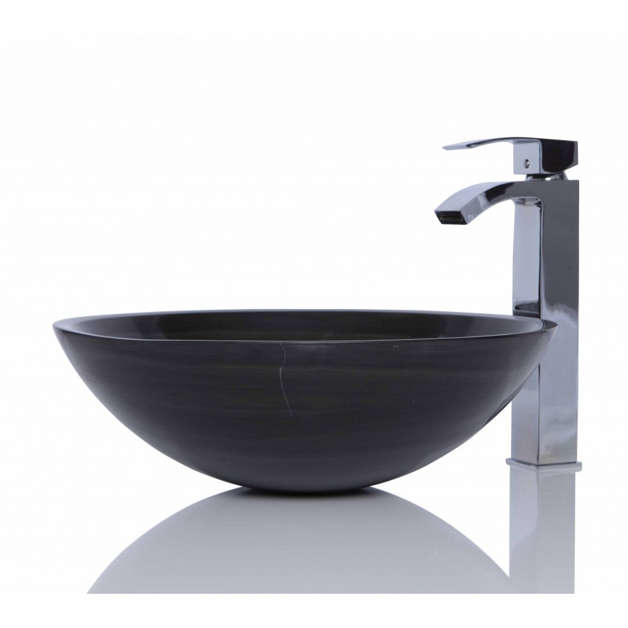 Marble Basin Chocolate Brown Marble Stone Circle Wash Basin Sink Free Waste