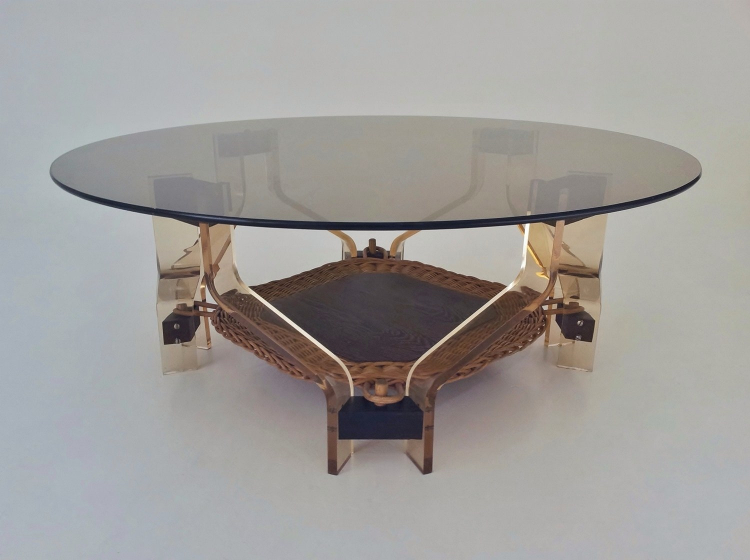 Sculptural Coffee Tables Lucite Wood And Glass Vintage Sculptural Coffee Table With