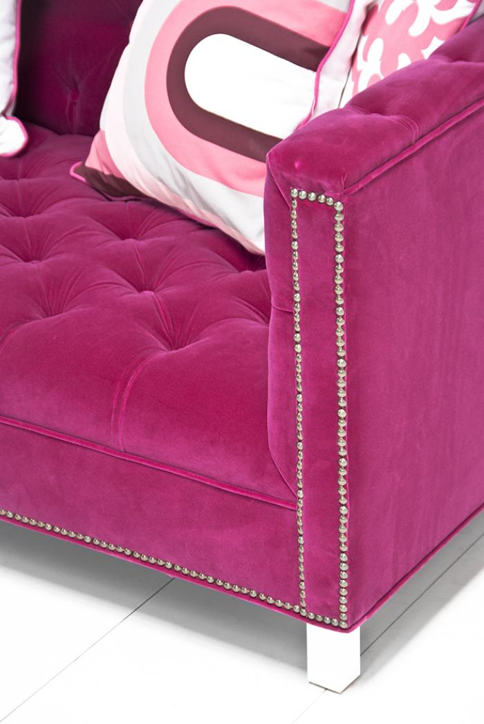 Hand Crafted Mirrors Www.roomservicestore.com - Hot Pink Velvet Hollywood Love Seat