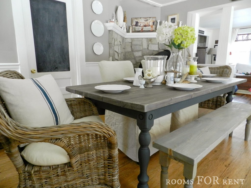 our new farmhouse dining table grey wood kitchen table Our New Farmhouse Dining Table