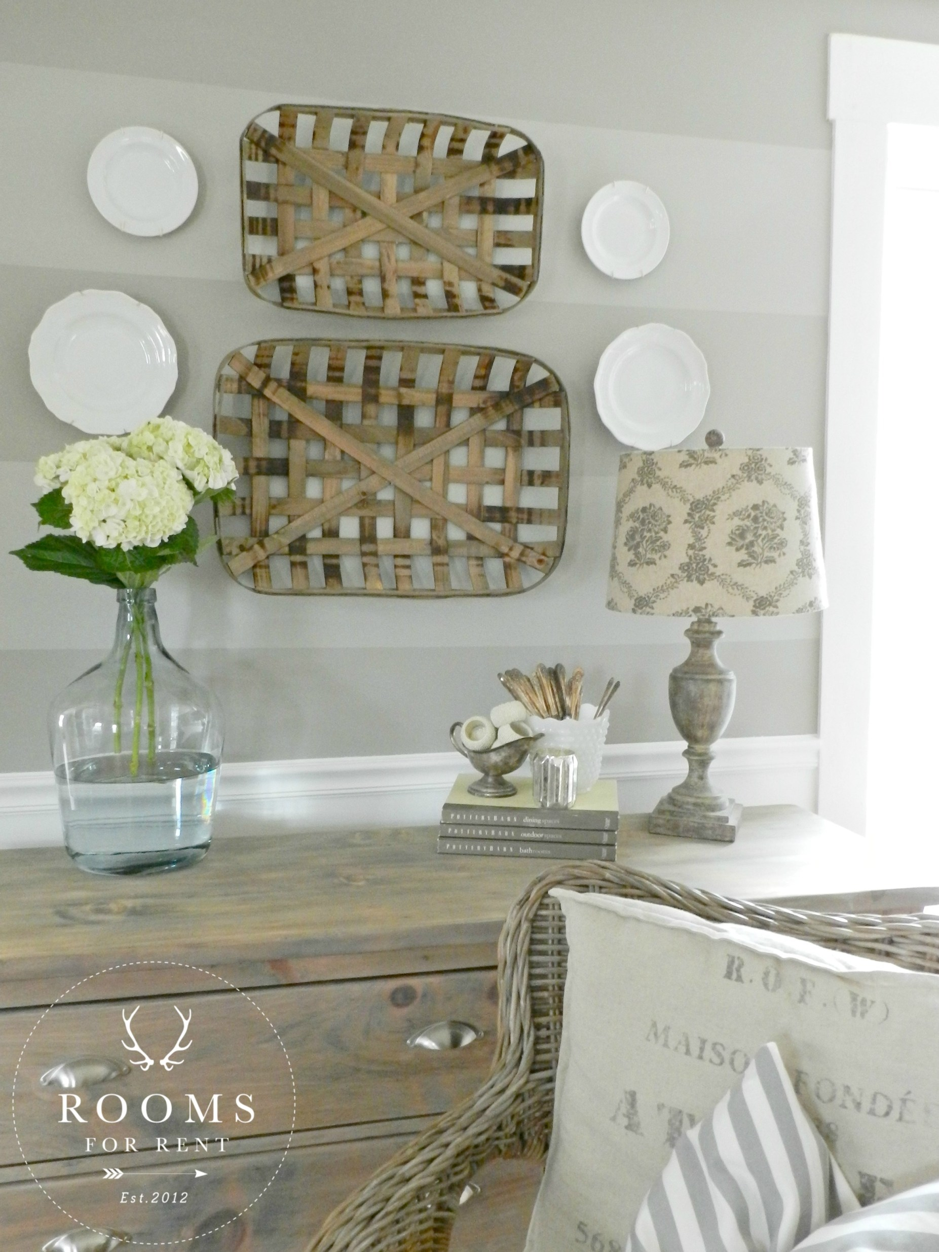 Tobacco baskets wall decor a giveaway rooms for rent blog - Wall hanging decoration ideas ...