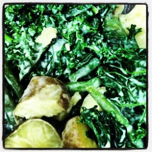 Warm Potato, green bean and kale salad with Miso Dressing