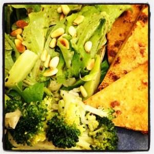 Broiled Tofu, Italian Broccoli and Salad