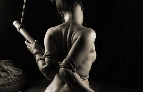 Bound with rope and bamboo.