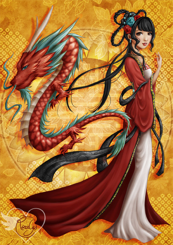 Warrior Girl Wallpaper Hd Chinese Dragon Rosalys Artist