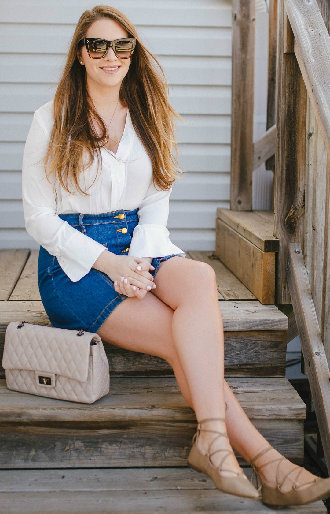 Gleam-Melanie Mills Hollywood-fortune-necklace-rosecitystyleguide-canadian-blogger-spring-outfit-laceup-flats-quilted-bag-button-front-skirt