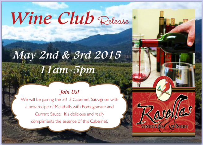 Wine Club May 2 & 3 2015 - Rosellas Vineyard & Winery