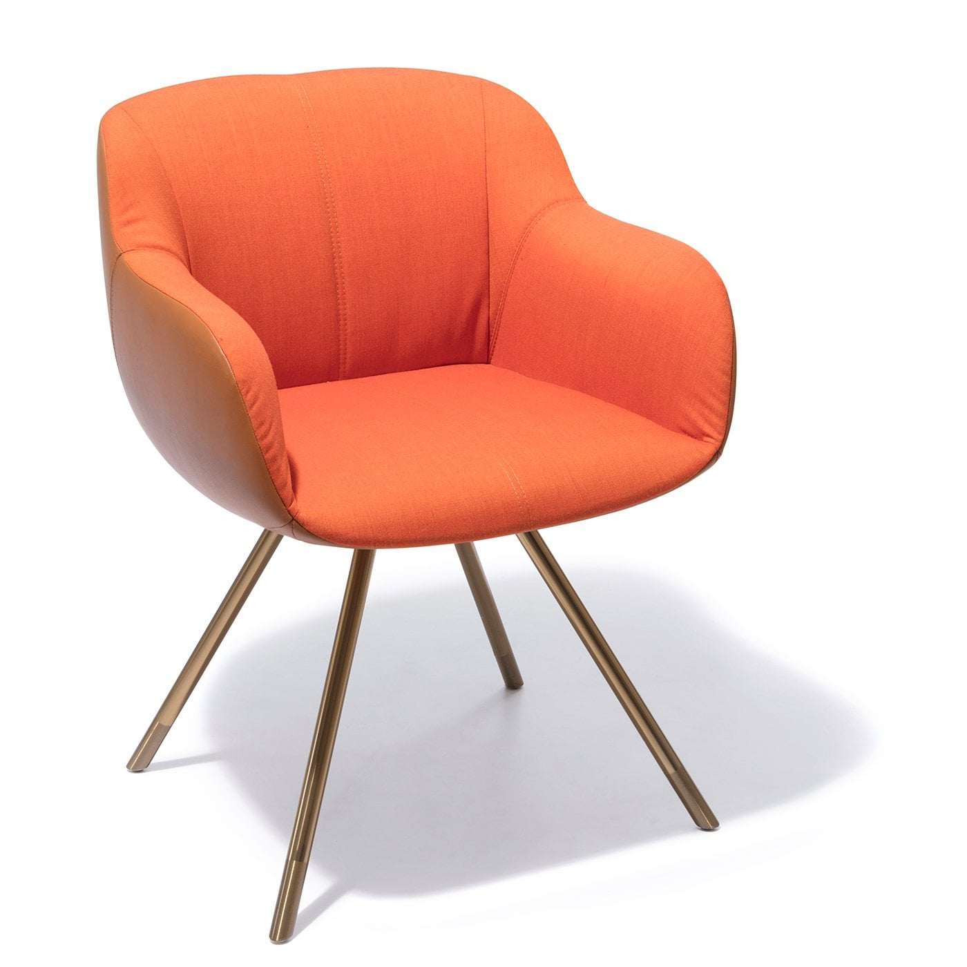 Sessel Cognac Shell Orange Cognac Fabric Leather Armchair Rosenthal Porcelain