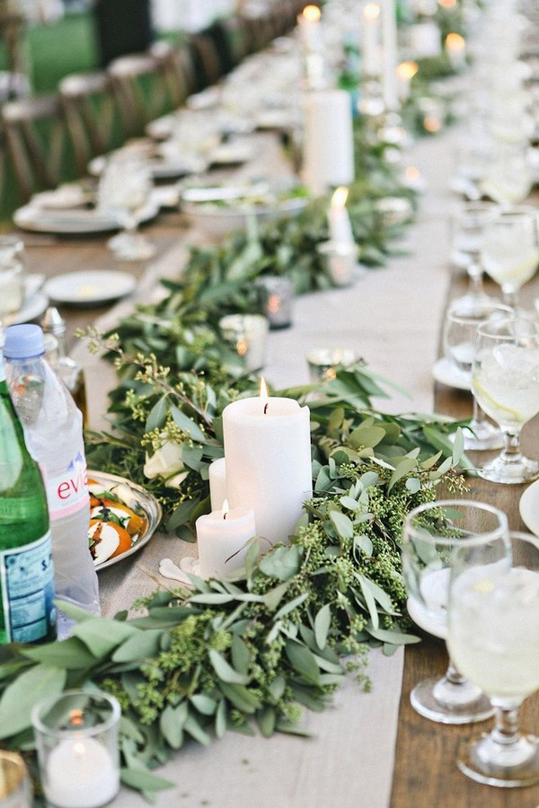 Table Jardin Eucalyptus 20 Lush Wedding Garland Runner Ideas For Your Reception