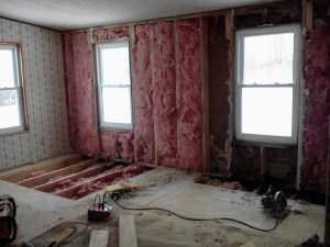 Tearing out and re-building of main walls and master bedroom subfloor