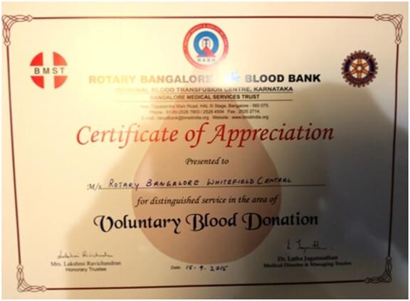Blood Donation Camp @ HCL Technologies, Jigini - Rotary Bangalore