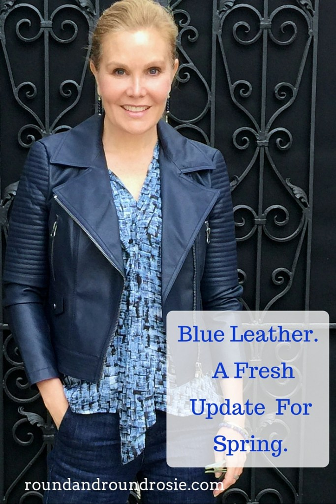 Navy Leather Jacket, Project Gravitas, a new neutral fashion over 40. A new fashion basic for older women.
