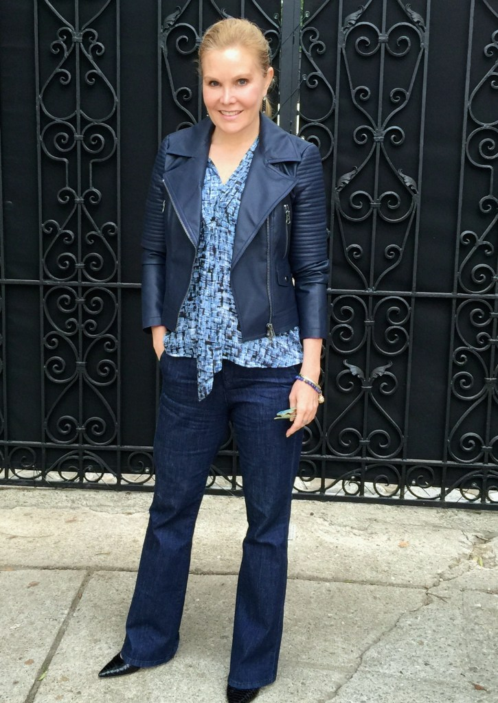 navy leather jacket, a new fashion over 40 style staple for older women
