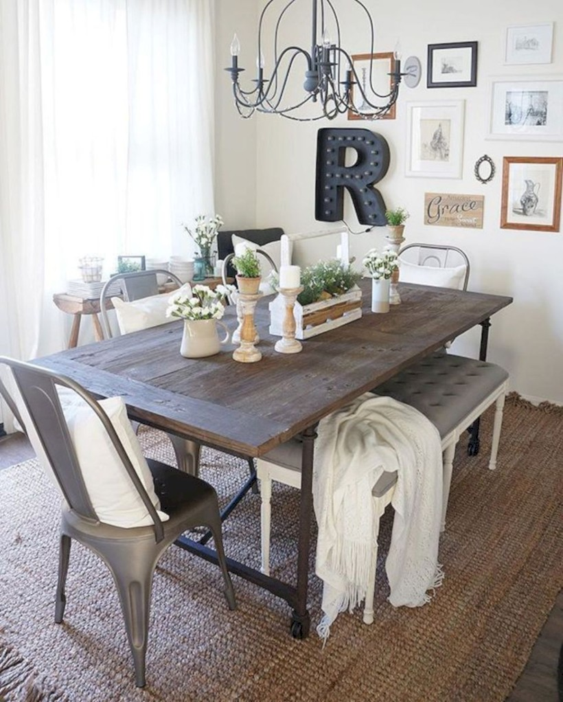 Decorating Ideas Dining Table Rustic Farmhouse Dining Room Table Decor Ideas 21 Roundecor