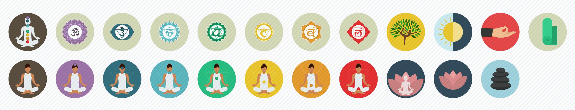 Meditation flat icons